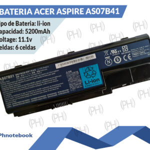BATERIA ACER ASPIRE  AS07B41   11,1VOLTIOS