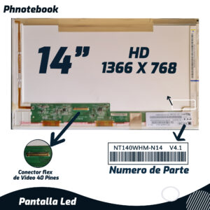 PANTALLA LED 14″ 40 PINES N140BGE-L23 REV C1 1366*768